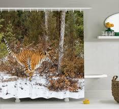 Animal Print Bathroom Decor Animal Print Shower Curtain Bengal Tiger Wild Bathroom Decor Ebay
