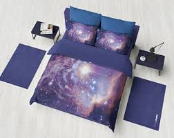 Space Single Duvet Cover Galaxy Bedding Etsy