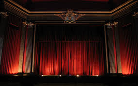 big theater with red curtains photo and desktop wallpaper