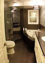 black and white small shower themes with corner tub and black