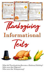 thanksgiving informational texts reading comprehension and