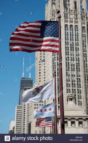 Chicaho Flag American Flag With Chicago Flags In Breeze Stock Photo Royalty