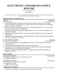 Sample Resumes For Warehouse Jobs by 10 Assembler Job Description For Resume Resume Assembler Skills