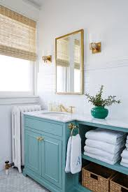 Cottage Bathroom Vanity Cabinets by Teal Bathroom Open Storage Baskets Painted Vanity Subway Tile