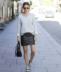 sneakers and skirts black leather mini skirt grey sweatshirt black