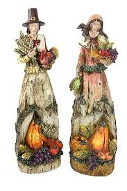 thanksgiving figures set of 2 autumn harvest wood carved thanksgiving pilgrim