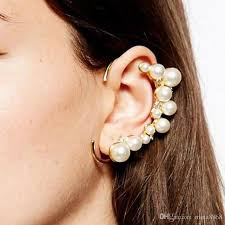 cuff earrings 2018 unique design imitation pearl ear cuff earrings women