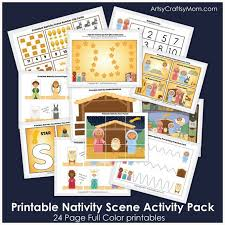 printable nativity themed activity pack artsy craftsy