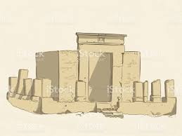 vector colored sketch of the ruins of a christian sanctuary in the