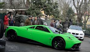 lime matte green color pagani huayra spotted in modena italy