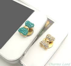 Home 4g by 1pc Bling Bow Rhinestone Jewelry Apple Iphone Home Button Sticker