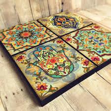 moroccan wall art set hamsa block set of 4 hamsa wall art hamsa