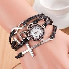 love charm leather bracelet images Women 39 s 3 piece leather bracelet with watch and cross love charm jpg