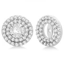 diamond earring jackets halo diamond earring jackets 4mm studs 14k white gold 0 52 ct