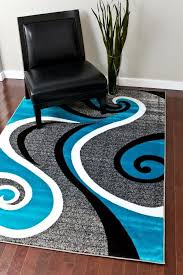 Cheap Modern Rug 0327 Turquoise White Gray Black 5 2x7 2 Area Rug