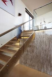 Glass Stair Banisters Stair Railing Ideas Staircase Contemporary With Glass Panel