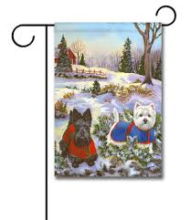scottie u0026 westie scotch pine hill garden flag 12 5 u0027 u0027 x 18