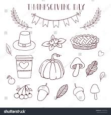 thanksgiving day set thematic elements pumpkins stock vector