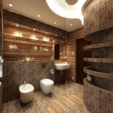 modern bathroom with wall decoration and recessed light footcap