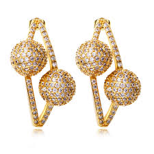 Buy Designer Gold Plated Golden New Design Fine Jewelry Sweet Earrings For Gold Color Plating