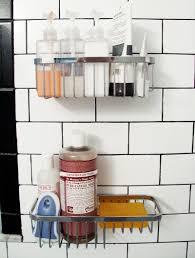 Bathroom Shower Storage by Silver Bathroom Storage On White Wall Of Captivating Bathroom