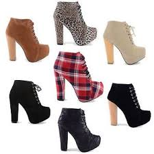 s heeled ankle boots uk high heel block platform lace up fashion ankle boots