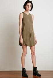 forever 21 curved hem trapeze dress in green lyst