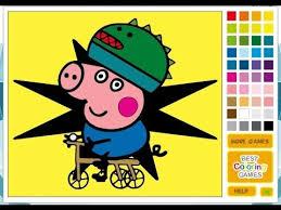 peppa pig coloring games painting george bicycle colorea george