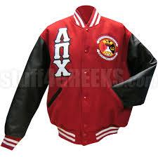 lambda pi chi varsity letterman jacket with greek letters and