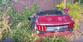 ford mustang seattle ford mustang crashes splits in half on impact
