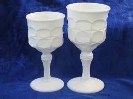 White Glass Vase Vintage Footed Jelly Servers Tall Goblet Vases Vintage Constellation