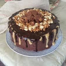 double drip chocolate fudge cake with peanut butter m u0026m filling