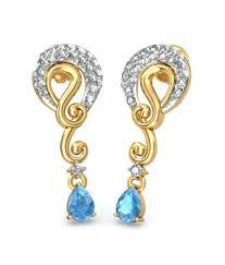 bluestone earrings bluestone 18kt yellow gold diamond topaz akshara earrings buy