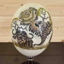 painted ostrich egg big 5 scrimshaw ostrich egg sw4236 safariworks taxidermy sales