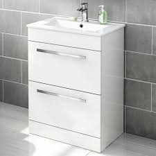 Avon Double Drawer High Gloss White Floor Standing Basin Unit - Bathroom basin with cabinet
