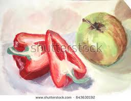 red still life painting water color stock images royalty free