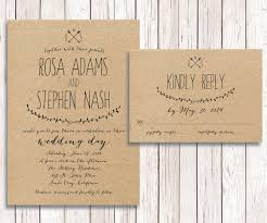 wedding invitations rsvp rustic wedding invitation rsvp kraft paper wedding invitation