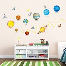 Kids Room Wall Decor Stickers by Amazon Com Decowall Dw 1307 Planets In The Space Peel And Stick