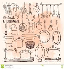 sketch of pots pans on watercolor background in country style