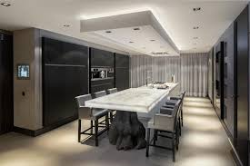 villa sleek dining area decor with unique dining table and hidden