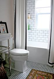 Wrap Around Double Curt Double Shower Curtain White With Black Tape Trim Mosaic Marble