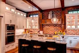 brick backsplash kitchen brick wall in kitchen with white cabinets glass cabinet doors to