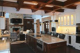 rustic kitchen ideas pictures brown wooden top grey color granite