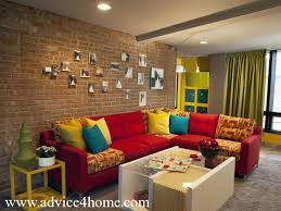 red couch decor red sofa design and brown stone wall design with farmes in modern