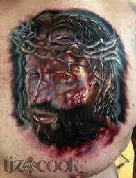 color horror jesus portrait on