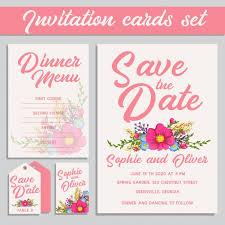 wedding invitation cards pink wedding invitation cards set vector free