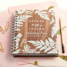 wedding planning notebook personalised walnut wedding planner oakdenedesigns
