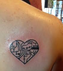 shoulder tattoos small heart chip circuit tattoo on back shoulder tattoo ideas