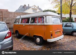 van volkswagen hippie volkswagen camper white orange van transporter parking u2013 stock