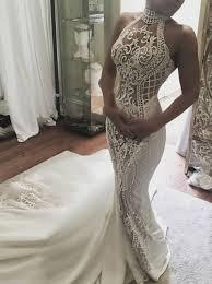 high neck wedding dresses buy mermaid high neck sweep lace appliques wedding dress